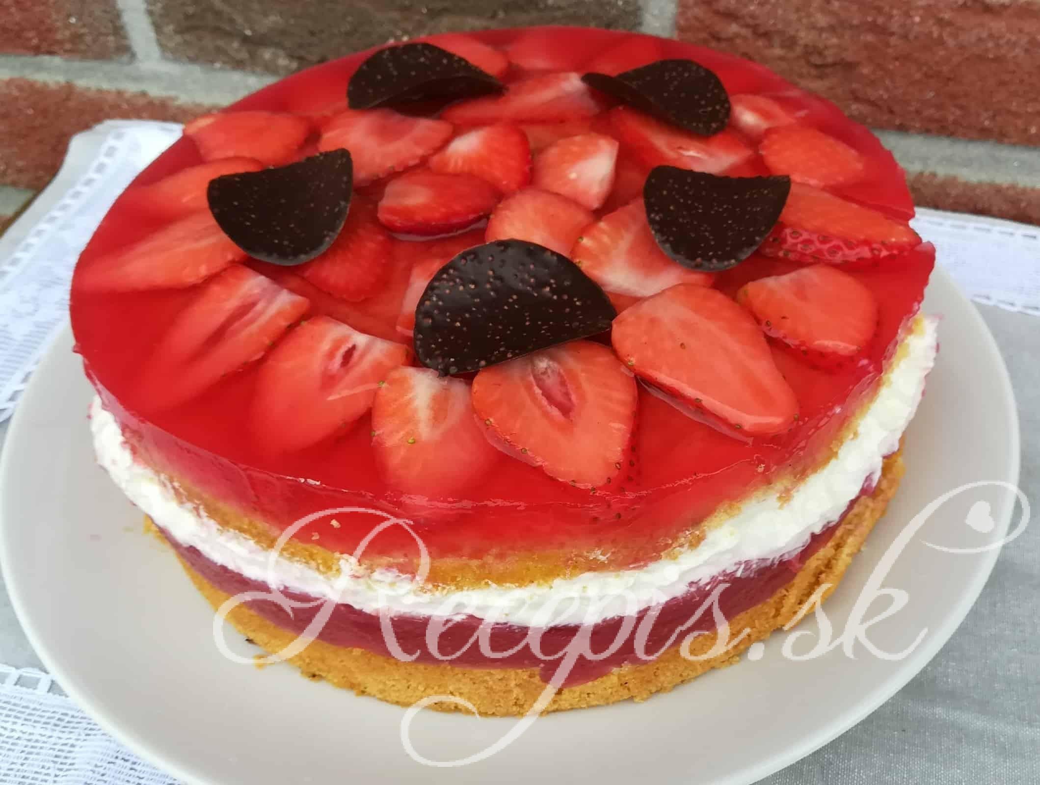Jahodová torta s tvarohovou plnkou